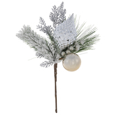 Silver Ornament & Pine Pick