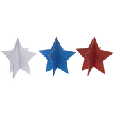 Red, White & Blue Glitter Standing Stars