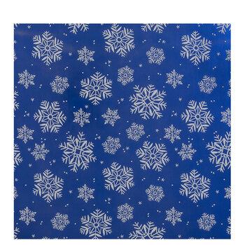 Metallic Blue & White Snowflakes Gift Wrap
