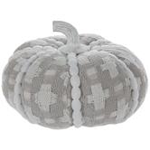 Gray & White Plaid Plush Pumpkin