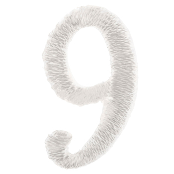 White Number Iron-On Applique 9 - Small
