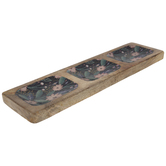 Pink & Purple Floral Sectioned Wood Tray