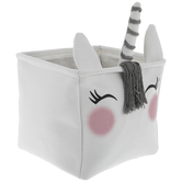 White Blushing Unicorn Square Bin