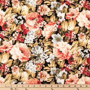 Floral On Black Cotton Calico Fabric
