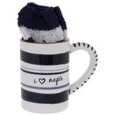 I Love Naps Striped Mug &Socks