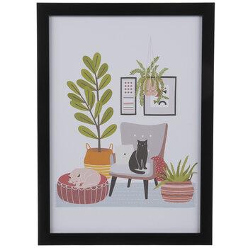 Cats & Plants Wood Wall Decor