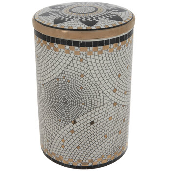 White, Black & Gold Tile Mosaic Canister - Large