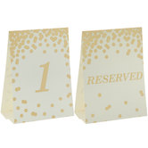 Gold Confetti Table Number Cards