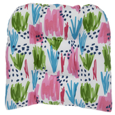 Pink, Green & Blue Abstract Seat Cushion
