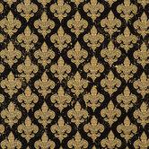 Black & Cream Fleur-De-Lis Cotton Calico Fabric