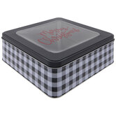 Merry Christmas Buffalo Check Tin Box