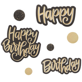Gold Holographic Happy Birthday Cutouts