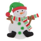 Green Hat Snowman Ornament
