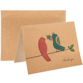 Kraft Birds On Branch Thank You Cards