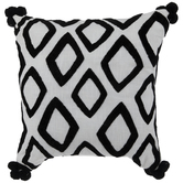 White & Black Embroidered Diamonds Pillow