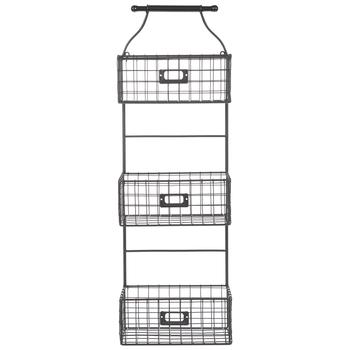 Gray Three-Tiered Wire Basket Wall Organizer
