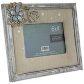 "Metallic Silver Floral Burlap Frame - 6"" x 4"""