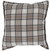 Cream, Brown & Blue Plaid Pillow