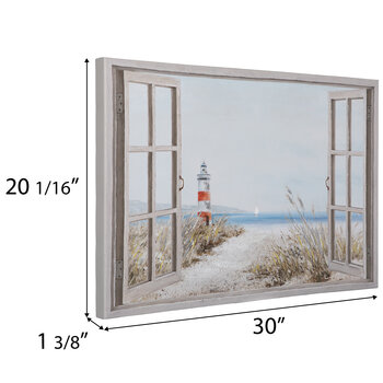 Window Looking To Beach Canvas Wall Decor