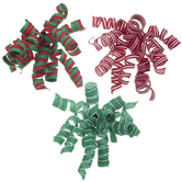 Red, White & Green Curling Bows