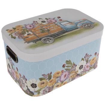 Blue Truck & Flowers Rectangle Box