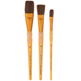 Camel Hair Flat Paint Brushes - 3 Piece Set