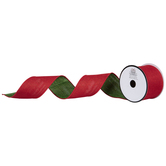 """Red & Green Reversible Wired Edge Ribbon - 2 1/2"""""""