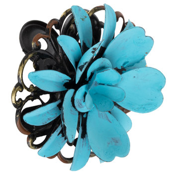 Turquoise Flower Metal Clip