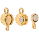 18K Gold Plated Round Flat Magnetic Clasps - 17mm x 9mm
