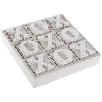 White Tic-Tac-Toe Wood Decor