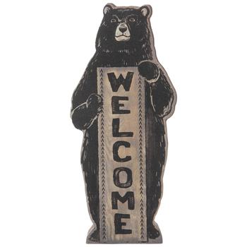 Welcome Bear Wood Decor
