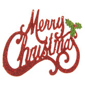 Red Glitter Merry Christmas Ornament