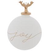 Joy Reindeer Head Ball Ornament