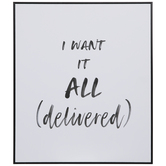 I Want It All Delivered Wood Wall Decor