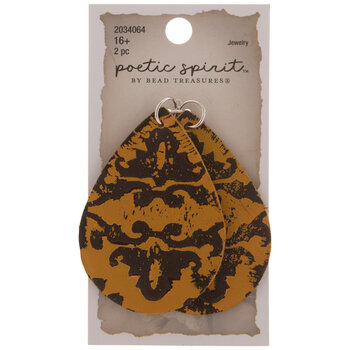 Brown & Mustard Leather Teardrop Pendants