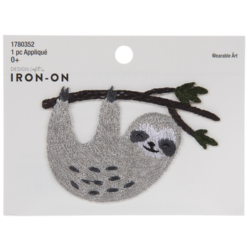 Sloth With Branch Iron-On Applique