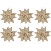 Gold Glitter Poinsettia 3D Stickers