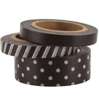 Washi tape black white pattern planner craft tape stripes circles