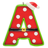 Patterned Letter Ornament With Santa Hat - A