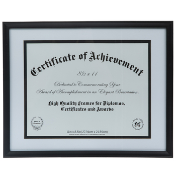 "Black Document Wood Wall Frame - 11"" x 8 1/2"""