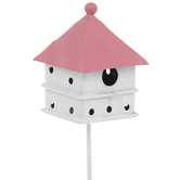 Pink & White Metal Birdhouse Pick