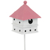 Pink & White Metal Birdhouse Pick