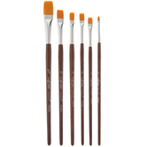 Gold Nylon Paint Brushes - 6 Piece Set
