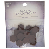 Brown Hexagon Wood Beads