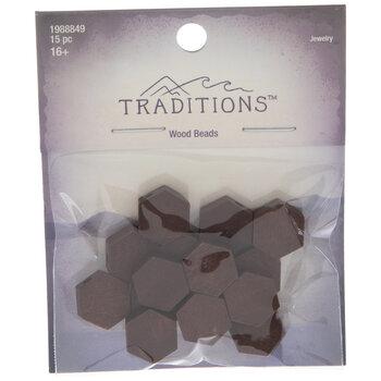 Brown Hexagon Wood Beads