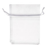 White Sheer Drawstring Pouches