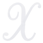 White Script Letter Iron-On Applique X - 3""