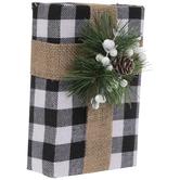 Black & White Buffalo Check Gift Box Wood Decor