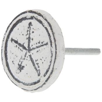 White Distressed Starfish Metal Knob