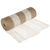 "Ivory & Natural Striped Deco Mesh Ribbon - 10"""
